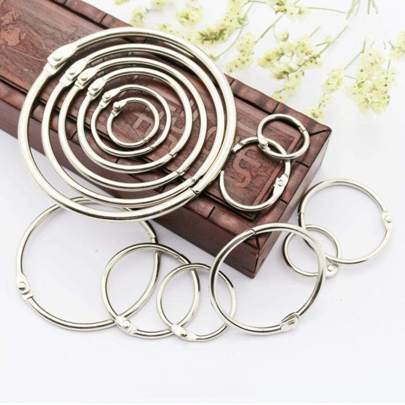 5pcs Metal Loose Leaf Book Binder Hinged Rings Keychain