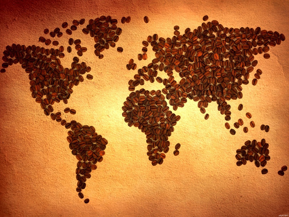 World Map Coffee Beans Cool Art Huge Print Poster TXHOME Din - Cool map posters