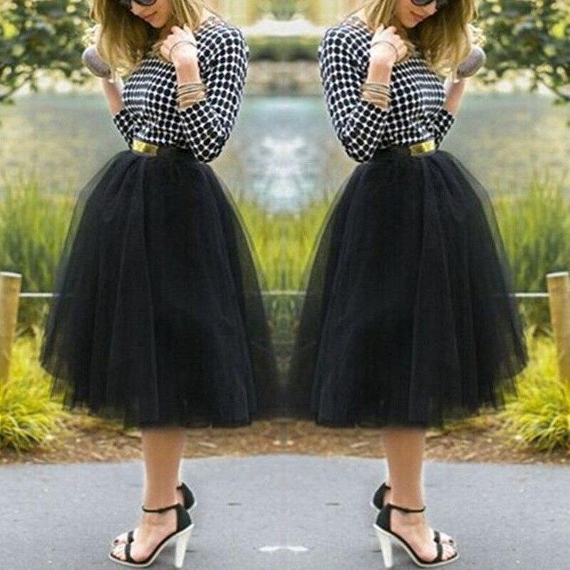 2016 Fashion Color Mini Skirt Women Girls Under Rockabilly Petticoat Tutu Tulle  Knee Length Fan Costume Ball