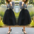 2016 Fashion Color Mini Skirt Women Girls Under Rockabilly Petticoat Tutu Tulle  Knee Length Fan Costume Ball