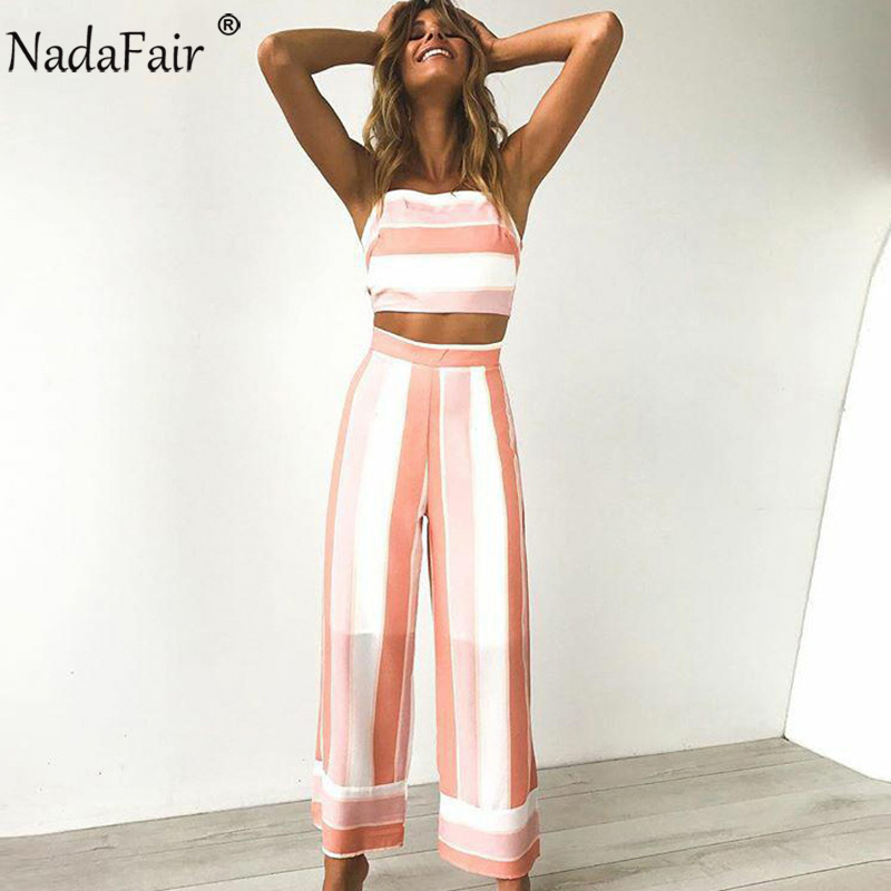 Nadafair Women Two Pieces Set Back Bow Summer Casual Rompers Long Pants Striped Jumpsuit