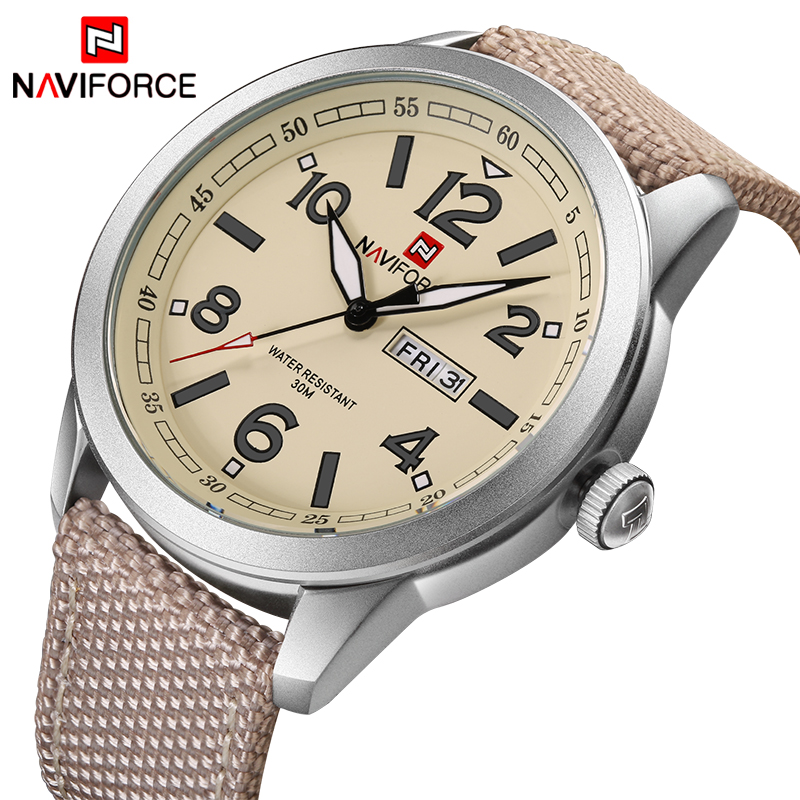 NAVIFORCE Luxury Brand Mens Fashion Sports Watches Men Quartz Date Clock Nylon Strap Waterproof Wristwatch Relogio Masculino
