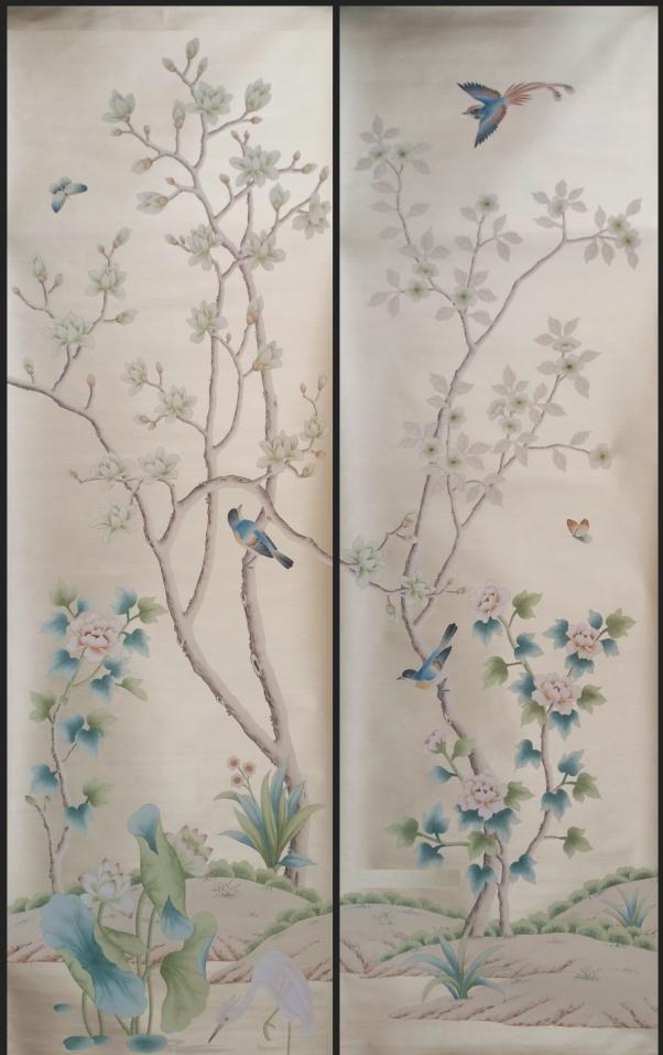 Luxueux Main-puissance peint argent papier peint peinture Magnolia avec oiseaux revêtements muraux en arts et fond en option