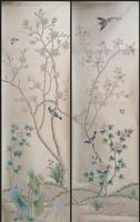 Luxurious Hand painted power silver wallpaper painting Magnolia with birds wallcovering many arts and background optional