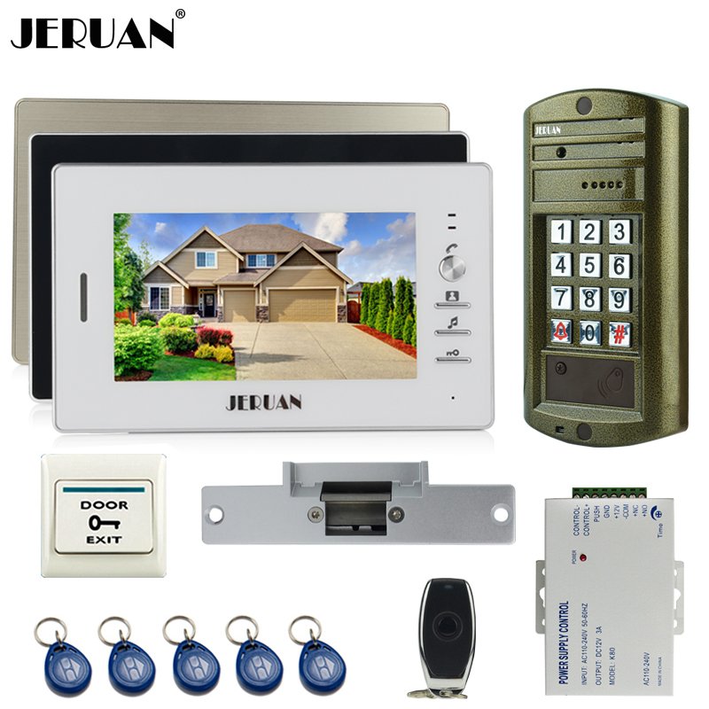 JERUAN Wired 7 inch TFT Video Intercom Door Phone Doorbell System kit 3 Monitor +Metal waterproof password HD Mini Camera 1V3 7 inch video doorbell tft lcd hd screen wired video doorphone for villa one monitor with one metal outdoor unit rfid card panel