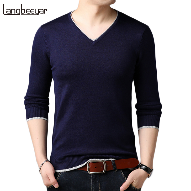 2019 New Autumn Winter Fashion Brand Clothing Pullover Mens Sweaters V Neck Solid Color Slim Fit Knitwear Sweaters For Men