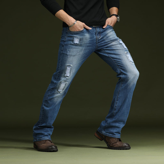 b79e985c3 Mens Ripped Flare Jeans Boot Cut Deep Blue Black Male Jeans Classic Stretch  Pants Men Denim