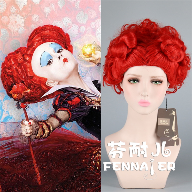 Alice in Wonderland Red Queen Wig Role Play Queen of Hearts Costume Red Hair Halloween Party Concert