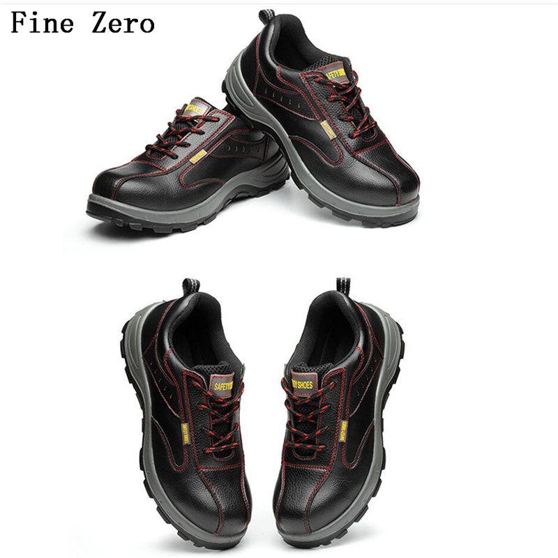 Fine Zero Men Autumn Winter Air Mesh Steel Toe Cap Work Safety Shoes Breathable Working Boots Puncture Proof Protective Footwear free shipping men steel toe cap work safety shoes reflective casual breathable hiking boots puncture proof protection footwear