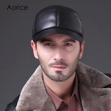 Aorice HL037 Men Cowhide Visor Leather Mens Golf Hat Casual Baseball Cap Hot Sale Viscose