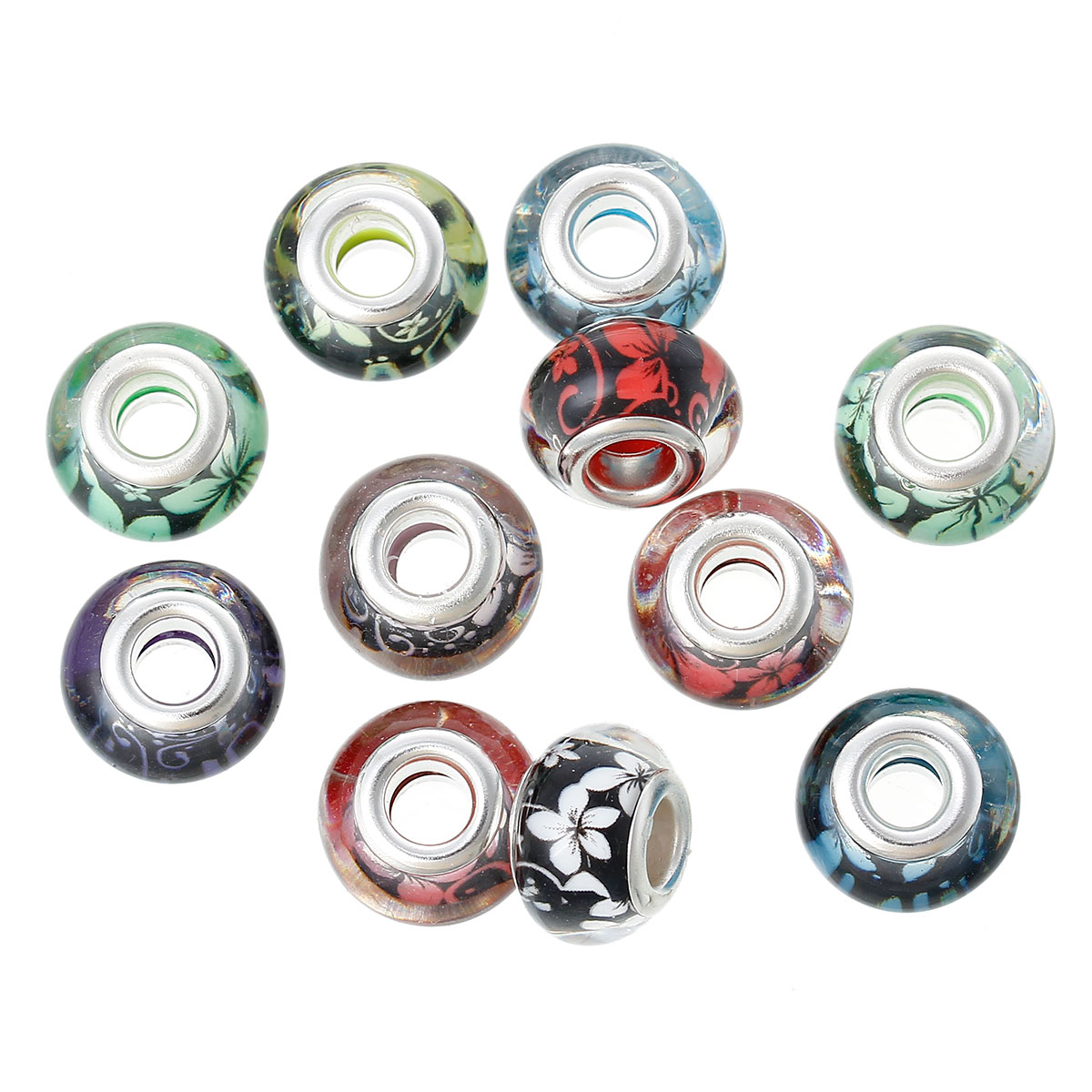 Beads 4pcs Tibetan Silver Round Flower Square Flat Spacer Beads Charms 17mm Hot Sale 50-70% OFF