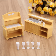 DIY Miniatures Furniture Household Kitchen Dresser Cabinet Dressing Table Sets For Mini Dollhouse Acessories Decor Gift
