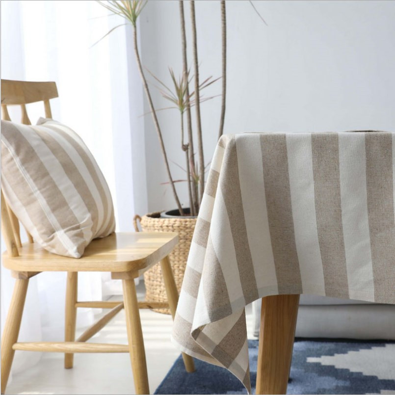 New Tablecloth Cotton Striped Beige Tablecloth Rectangular Modern Home Fabric Cotton Linen Table Cloth European Home Decoration in Tablecloths from Home Garden