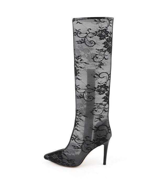 4 Schuhe High Stiefel Us Ursprüngliche Frauen 8 Spitz Mode Oi0258 Black Größe Sexy Kniehohe Heels Absicht 5 Dünne Super Schwarz Frau CqqXnzw7a