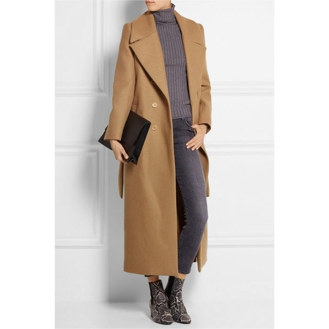 Casaco feminino 2017 Великобритания Для женщин Большие размеры осень-зима Cassic простой шерсть Макси длинное пальто женский халат Верхняя одежда Манто Роковой