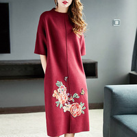 DYZOO Fashion Casual Loose Fit Vintage Women Knitted Warm Sweater Dresses Floral Embroidery High Quality Female