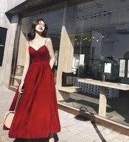 016af5f73b73d Vintage Spaghetti Straps Long Prom Dress Ankle Length Velour Evening Gowns  Sexy Cheap Party Dresses. US $105.00. Vintage Spagetti Sapanlar Uzun Balo  Elbise ...