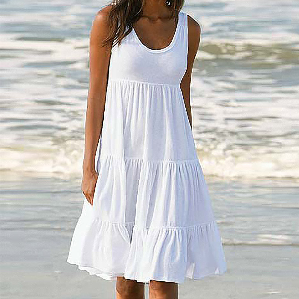 dress Womens Holiday Summer Solid Sleeveless Party Beach Dress Lace Loose Solid casual dress women