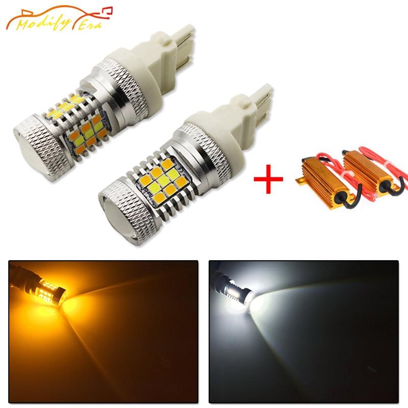 Modify.Era 2pcs 3157 3357 3457 Car Canbus Error Free LED Bulbs For DRL Turn Signal Light Dual-Color Switchback 31-SMD Led Lights