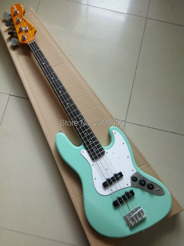 Hot Sale Custom shop jazz bass guitar mahogany body maple neck wilkinson wax pickups high quality Peony green color in stock