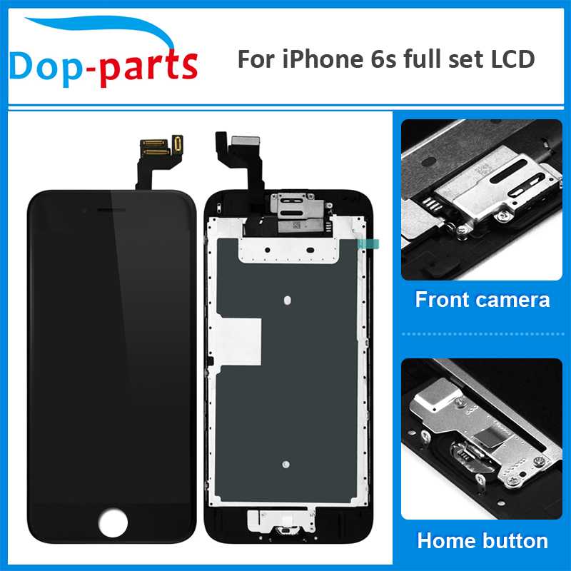 100Pcs Best Price Full Set LCD Display For iPhone 6s Touch Screen Home button+Front camera Digitizer Assembly Replacement