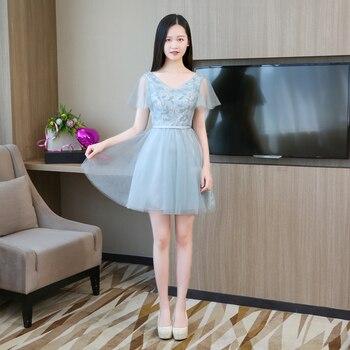 цена на Blue Grey Colour V-neck Mini Bridesmaid Dresses Short Sleeves  Wedding Dress Party  Satin Dress