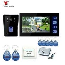 Yobang Security 7 Inch Touch Keypad Video Intercom Hands Free Video Doorphone With IR Camera Electronic Lock + 5Pcs RFID Keyfobs
