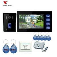Freeship 7 Inch Touch Keypad Door Intercom Hands Free Video Doorphone With IR Camera Electronic Lock