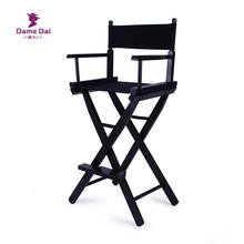 Bar Height Director Chair Natural/Black Frame with Cavans Garden Furniture Wooden Portable Folding High Director Chair Wood