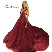 Sparkly Sequins Long Party Dress A Line Sexy Womens Evening Gown Dresses2019 vestidos de festa longo Formal Prom Dress