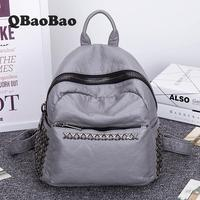 HIGH GRADE Women Leather Backpack Penk Style Rivet Ziper Female Backpack Washed Leather New Brand Design