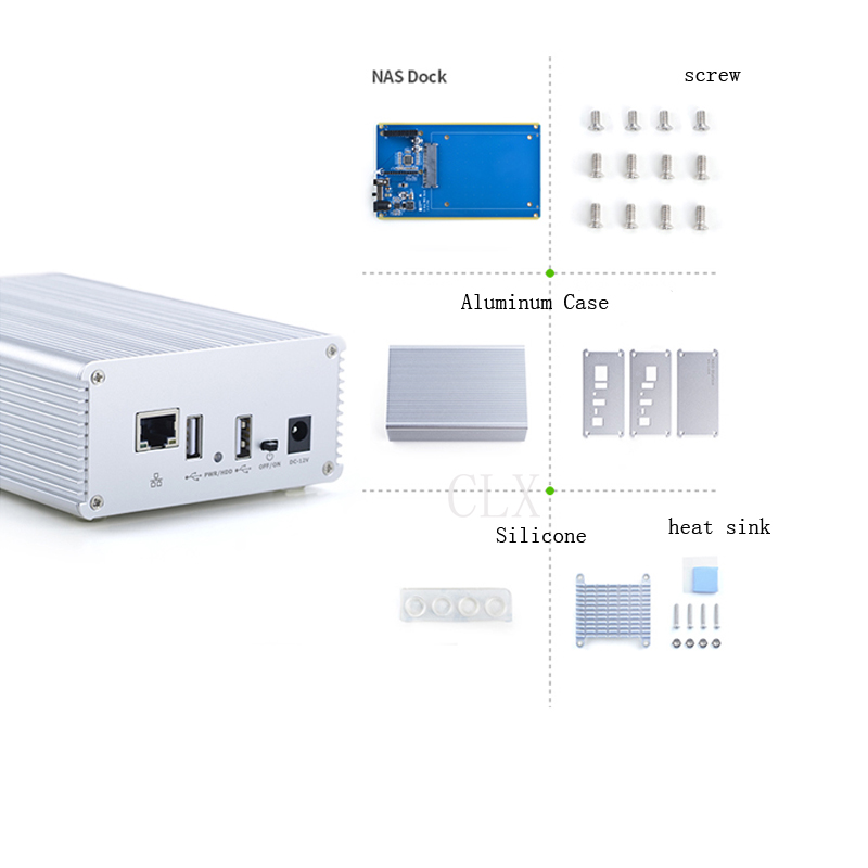Single Disk 2.5 Network Storage Server NAS DIY Deity, Gigabit Network BT/PT Download All Aluminum Metal