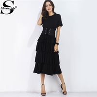 Sheinside Black Flounce Tiered Summer Dress With Obi 2017 Vintage Lace Up Casual Women Dress Sweet