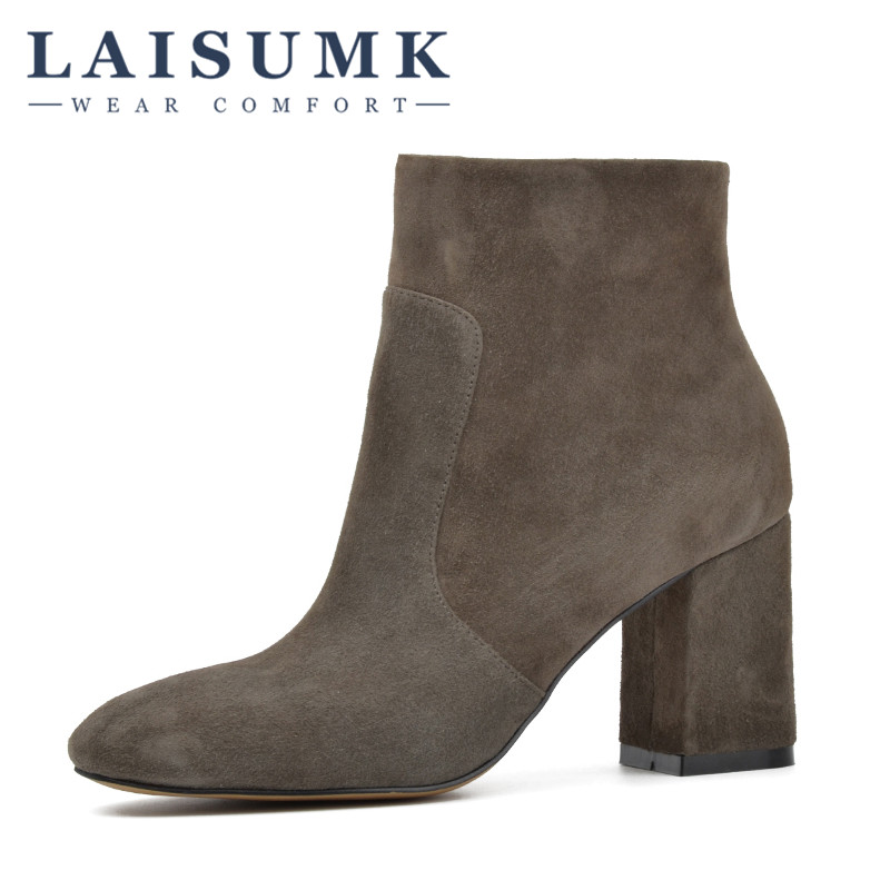 2018 LAISUMK Sheep Suede Ankle Boots Fashion Square Toe Thick Heel Women High Heel Genuine Leather Boots new arrival superstar genuine leather chelsea boots women round toe solid thick heel runway model nude zipper mid calf boots l63