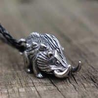 Hommes sauvage Viking sanglier collier en acier inoxydable Vintage nordique pendentif à breloque Animal nordique bijoux