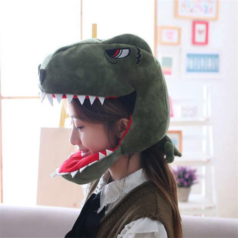 Animal Dinosaur Cosplay Costumes Accessories Hats Dino Plush Toy Adult Children Creative Fancy Hat Cap