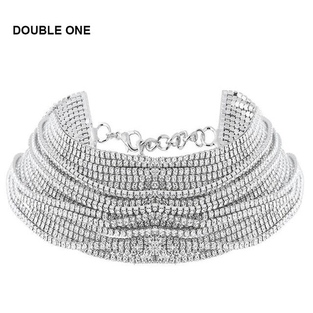 DOUBLE ONE Women s Wide Neck Rhinestone Choker Necklace 2017 Big sparkly  choker Fashion jewelry Trendy Chocker 6a4e21c2efc4