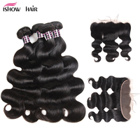 Ishow Brazilian Body Wave Lace Frontal Closure With Bundles Non Remy Human Hair 4 Bundles With Closure 13x4 Ear To Ear Closure