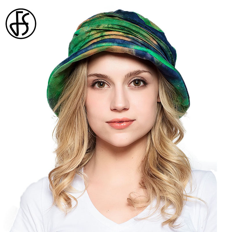 FS Cotton Summer Hat For Women Tie Dye Vintage Foldable Green Bucket Hats Ladies Beach Print Foldable Caps Sun Protect Visor Cap
