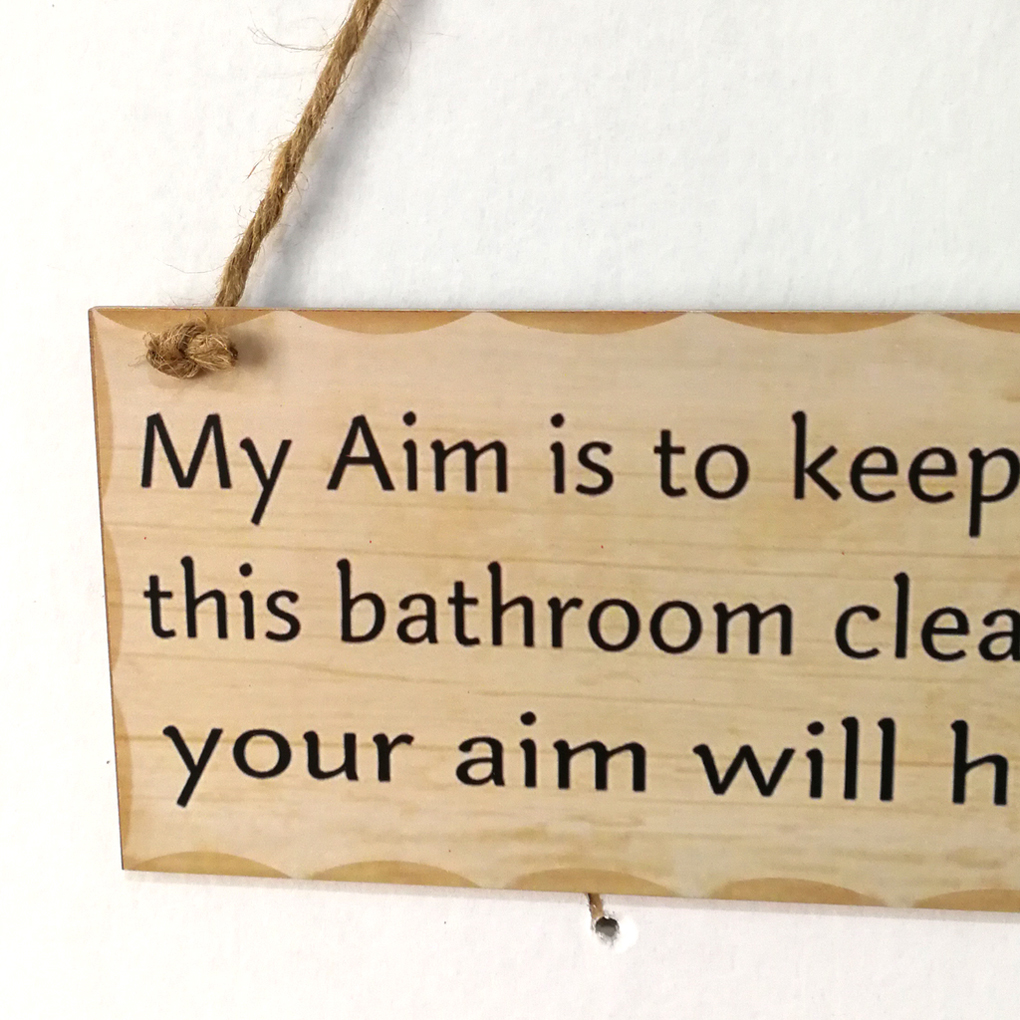 Safety Bathroom Letters Rest Room Wood Board Wall Hanging Notice ...