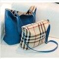 2015 nueva moda de las mujeres del todo-fósforo de la tela escocesa reversible bolso un hombro bolsa de mensajero de LA PU bolsos de cuero combinado RJ698