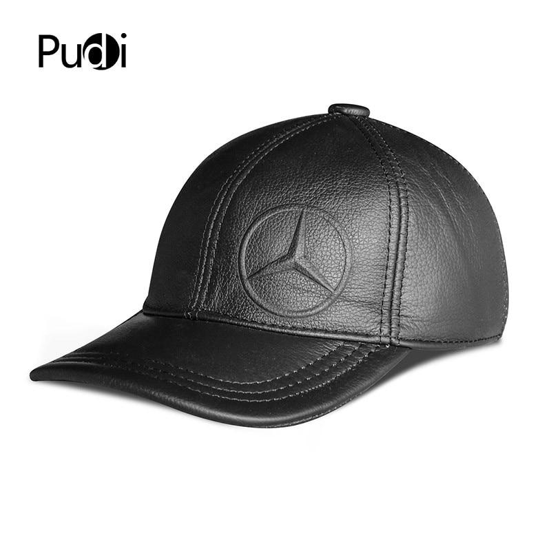 Pudi men genuine leather baseball cap hat 2018 new winter warm real leather sport trucker caps hats black brown color