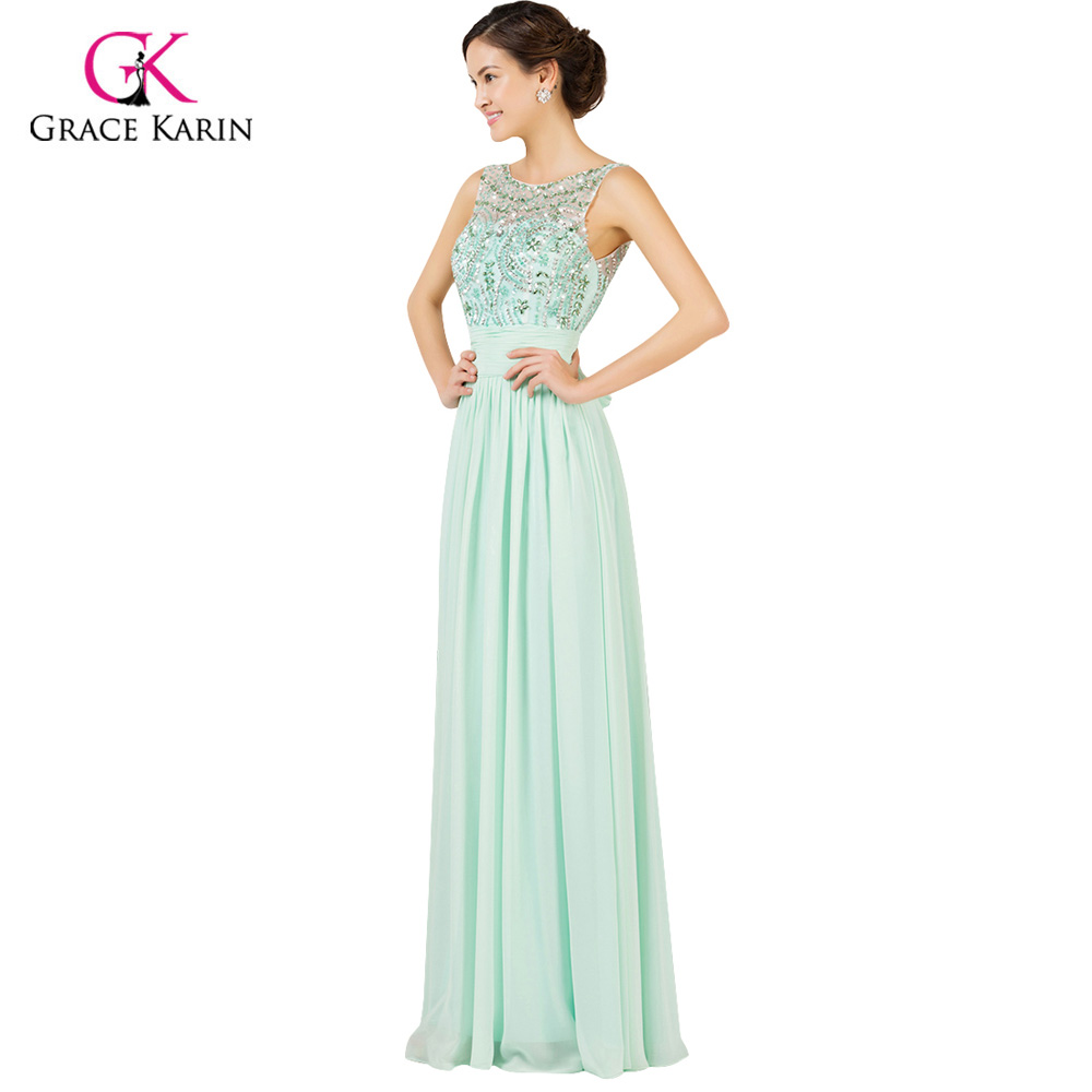 39305ab1ea Light Mint Green Long Chiffon Bridesmaid Dresses Under 50 Grace Karin cheap  2018 Prom Dresses