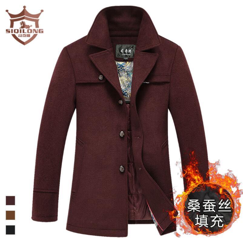 SIQILONG M-3XL large size trench men wool coat brand wool & blends long coat woolen coat hombre peacoat winter jacket coat men
