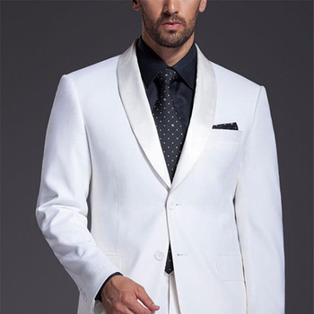 Brand New Mens Suits Groomsmen Shawl Satin Lapel Groom Tuxedos 2017 men White Wedding Best Man Suit (Jacket+Pants+Tie+Girdle)