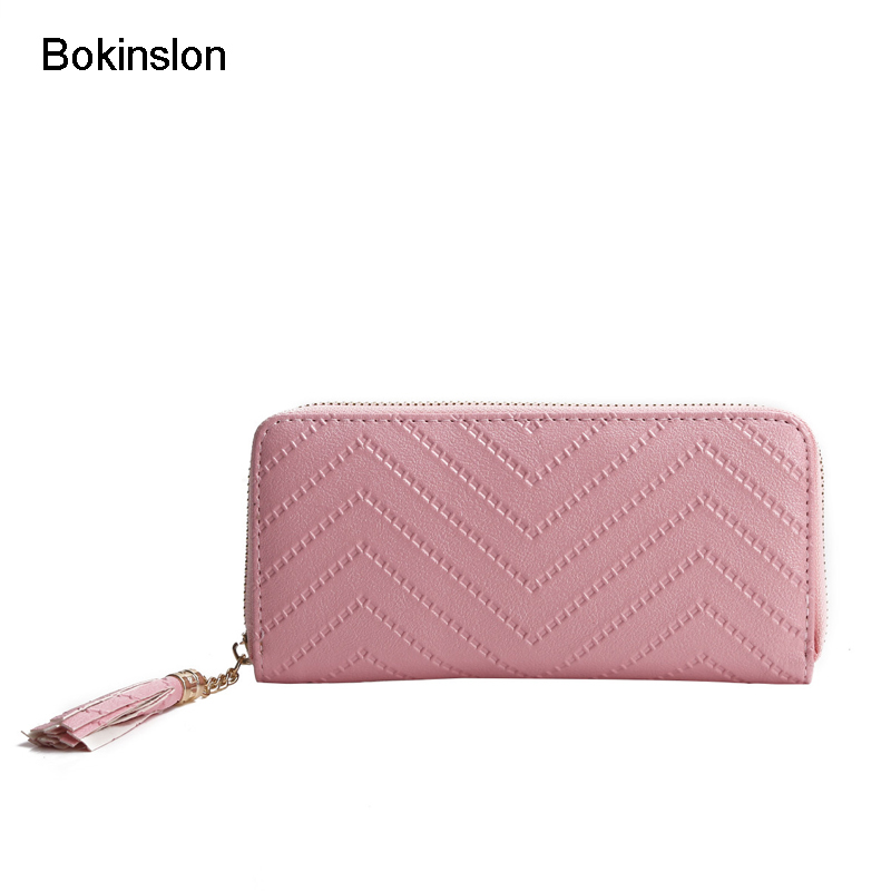 Bokinslon Woman Wallet PU Leather Fashion Girls Long Section Hand Wallet Simple Luscious Ladies Brand WalletBokinslon Woman Wallet PU Leather Fashion Girls Long Section Hand Wallet Simple Luscious Ladies Brand Wallet
