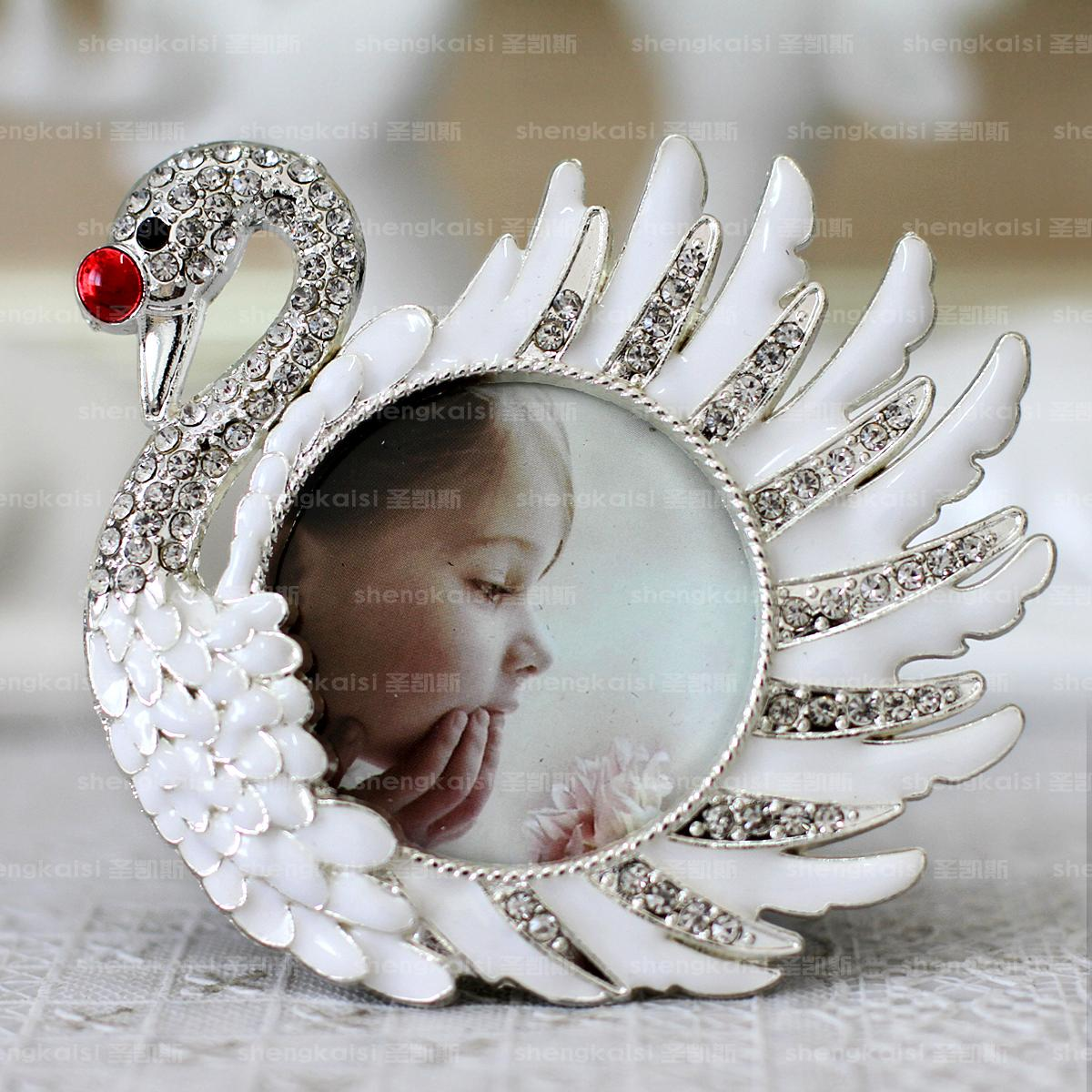 White Swan Rhinestone stickers white baby picture frame picture ...