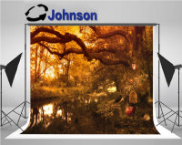 tree Fairy Tale Elf House Pumpkin rabbit Lights Forest background Vinyl cloth Computer print Halloween photo backdrop