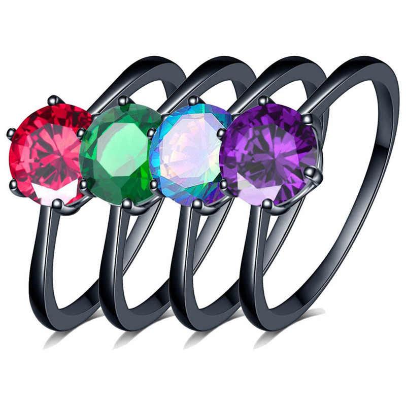 Encantador anillo de corazón de ópalo de Fuego Azul femenino elegante anillo púrpura negro oro lleno joyería Vintage anillos de boda para mujeres