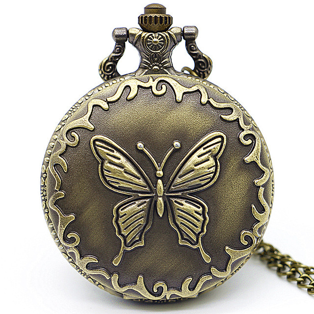 Drop Shipping Vintage Bronze Quartz Pocket Watches Butterfly Carving Fashion Unisex Pocket & Fob Watch Unique Gifts